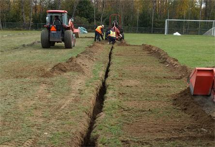 Drainage, terrain soccer, drain, tranchée, tuyau